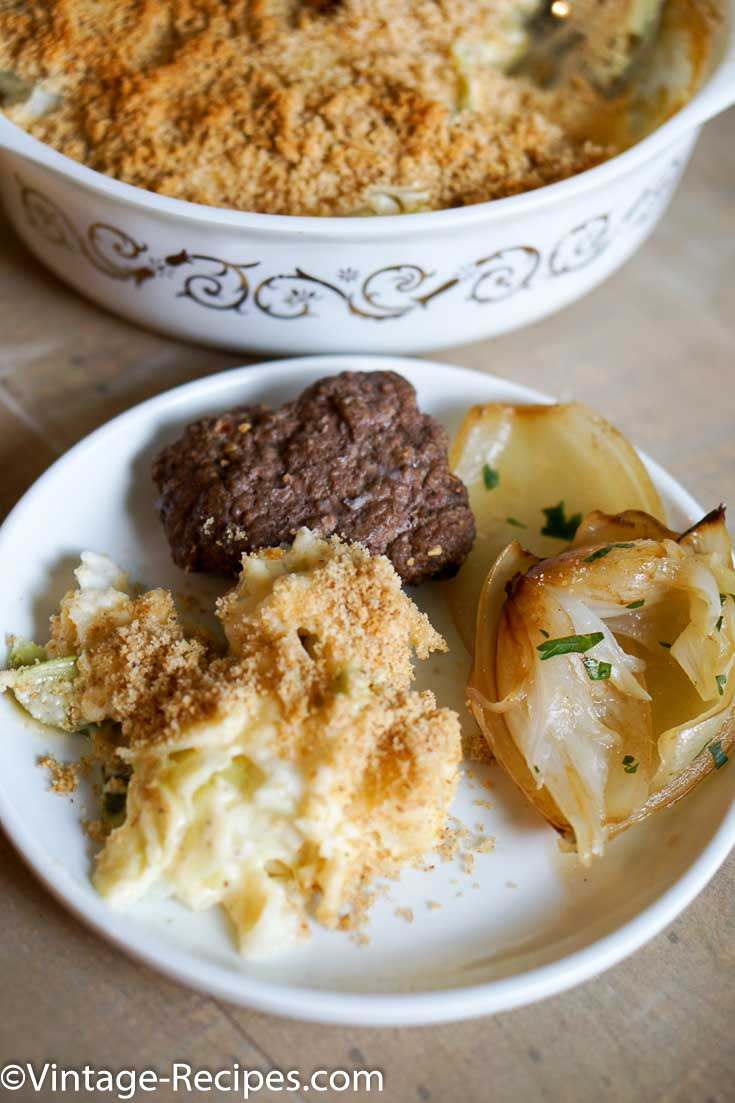 Enjoy this easy to make escalloped cabbage, cabbage never had it so cheesy!